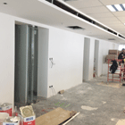 Openoffice with ceiling and luminaires recently installed